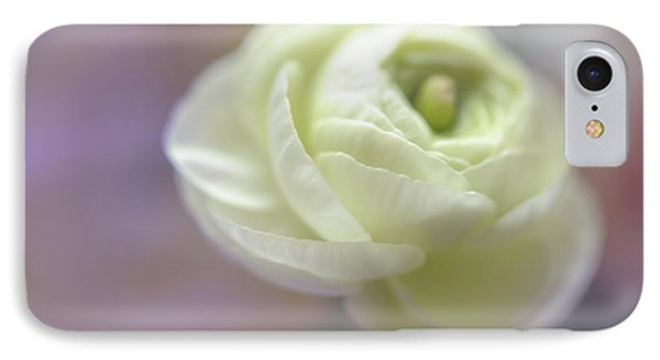IPhone Case featuring the photograph White Ranunculus Bud by Jenny Rainbow