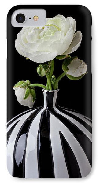 White Ranunculus In Black And White Vase IPhone Case by Garry Gay