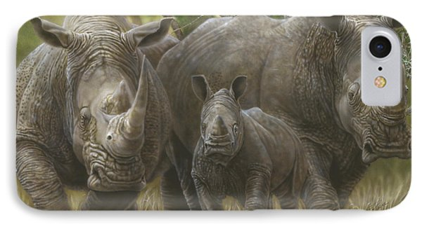 White Rhino Family - The Face That Only A Mother Could Love IPhone Case