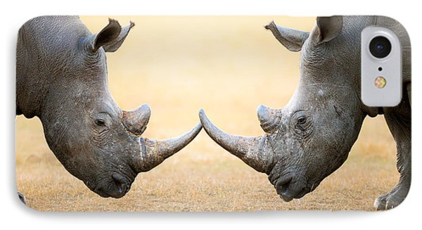 White Rhinoceros  Head To Head IPhone Case by Johan Swanepoel