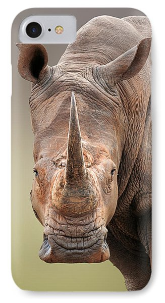 White Rhinoceros Portrait IPhone Case by Johan Swanepoel