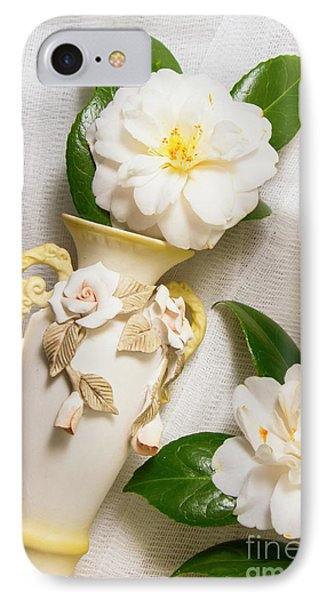 White Rhododendron Funeral Flowers IPhone Case