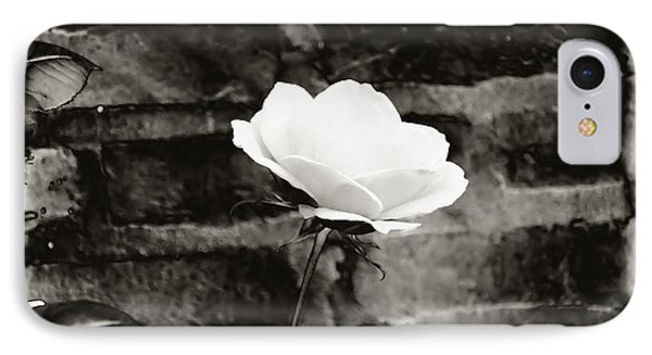 White Rose In Black And White Phone Case by Bill Cannon