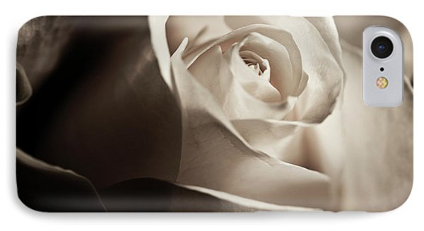 IPhone Case featuring the photograph White Rose In Sepia 2 by Micah May