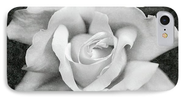 IPhone Case featuring the photograph White Rose Macro Black And White by Jennie Marie Schell