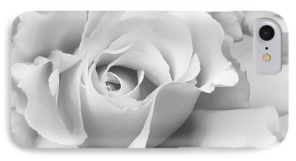 IPhone Case featuring the photograph White Rose Ruffles Monochrome by Jennie Marie Schell