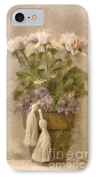 White Roses In Old Clay Pot IPhone Case by Lois Bryan