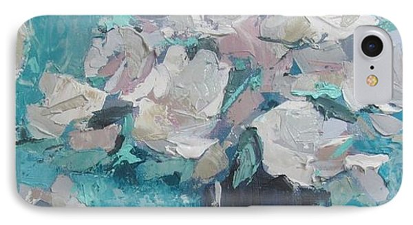 White Roses Palette Knife Acrylic Painting IPhone Case by Chris Hobel