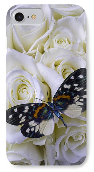 White Roses With Colorful Butterfly IPhone Case by Garry Gay