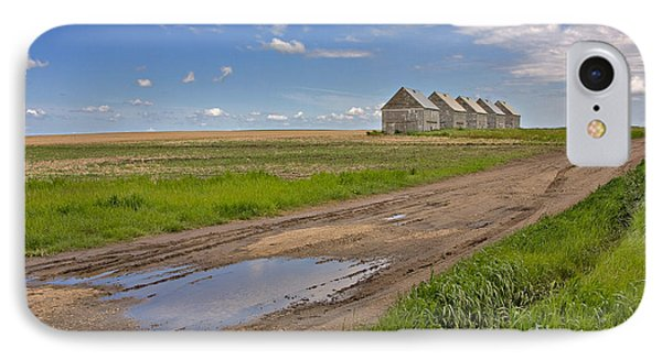 White Sheds On A Prairie Farm In Spring Phone Case by Louise Heusinkveld
