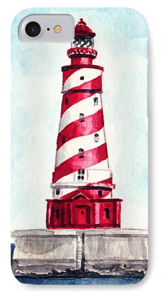 White Shoal Lighthouse Michigan Nautical Light House Red And White Candycane Stripes IPhone Case by Laura Row