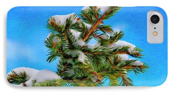 White Snow On Evergreen Phone Case by Jeff Kolker