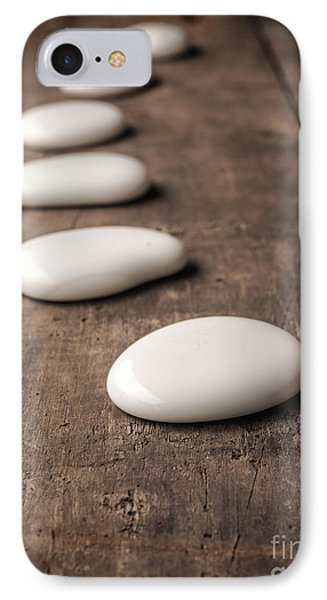 White Stones On Wood IPhone Case by Andreas Berheide