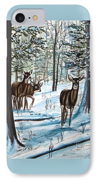 IPhone Case featuring the painting White Tail Deer In Winter by Patricia L Davidson