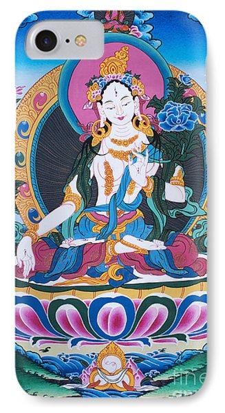 White Tara Thangka IPhone Case by Tim Gainey