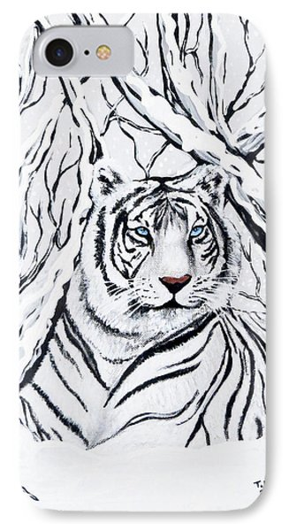 White Tiger Blending In IPhone Case