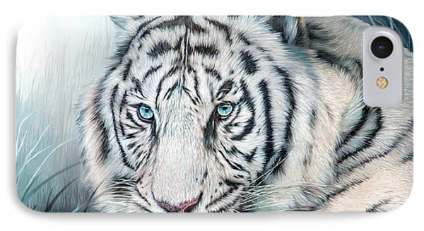 IPhone Case featuring the mixed media White Tiger - Spirit Of Sensuality by Carol Cavalaris