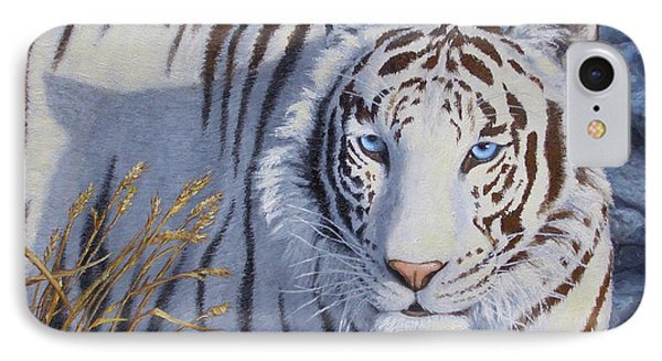 White Tiger - Crystal Eyes Phone Case by Crista Forest