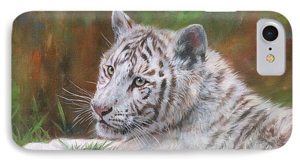 White Tiger Cub 2 IPhone Case by David Stribbling