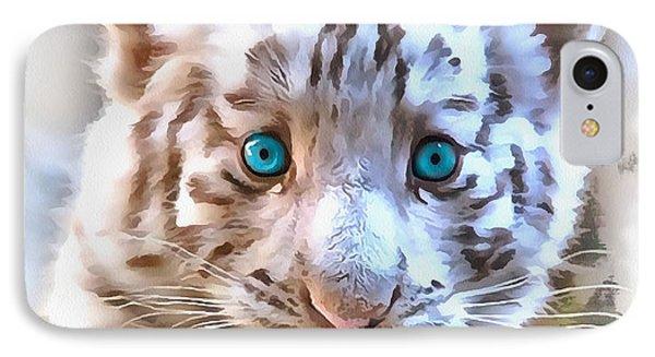 White Tiger Cub IPhone Case by Sergey Lukashin