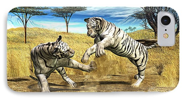 White Tiger Fight IPhone Case by Methune Hively