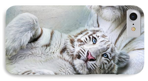 IPhone Case featuring the digital art  White Tiger by Trudi Simmonds