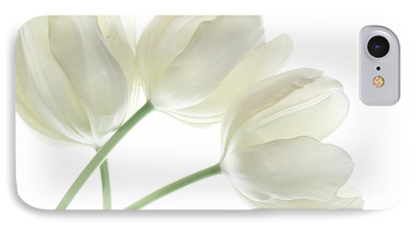 White Tulip Flowers IPhone Case by Charline Xia