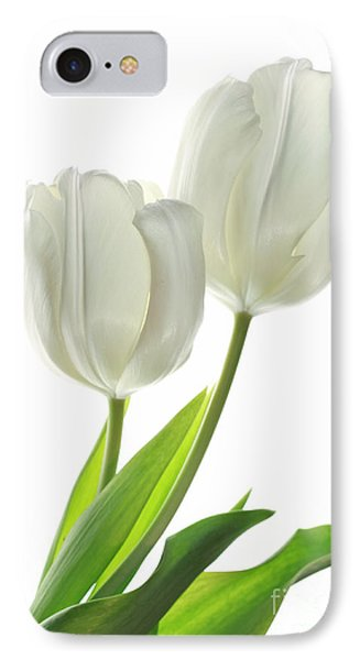 White Tulips With Leaf IPhone Case by Charline Xia