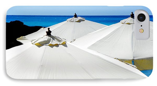 White Umbrellas Phone Case by Karen Wiles