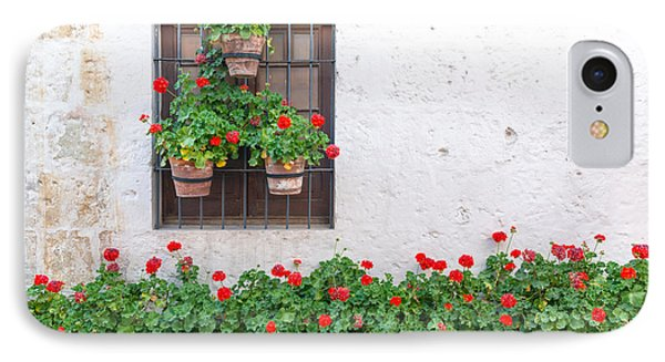 White Wall And Red Flowers IPhone Case by Jess Kraft