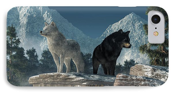 White Wolf, Black Wolf IPhone Case by Daniel Eskridge