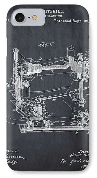 Whitehill Sewing Machine Patent 1885 Chalk IPhone Case