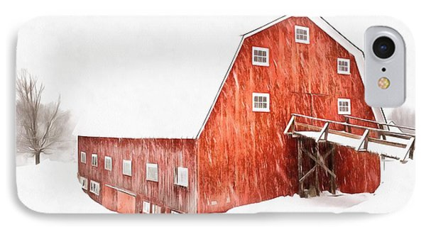 IPhone Case featuring the painting Whiteout On The Farm Blizzard Stella by Edward Fielding