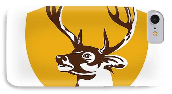 Whitetail Deer Buck Head Crest Retro IPhone Case