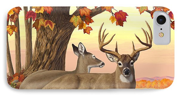 Whitetail Deer - Hilltop Retreat Horizontal IPhone Case by Crista Forest