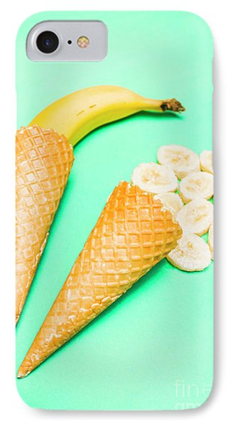 Whole Bannana And Slices Placed In Ice Cream Cone IPhone Case