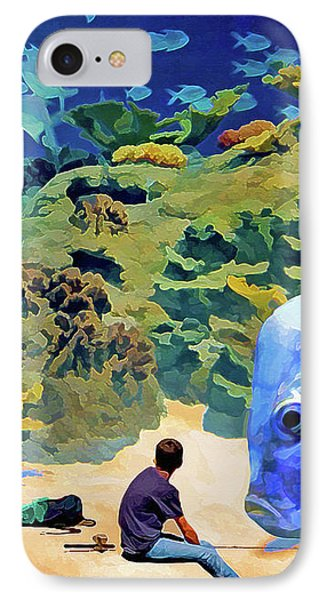IPhone Case featuring the mixed media Who's Fishing? by Lynda Lehmann