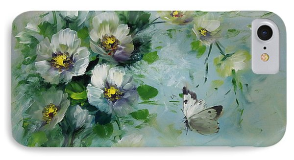 Whte Butterfly And Blossoms Phone Case by David Jansen