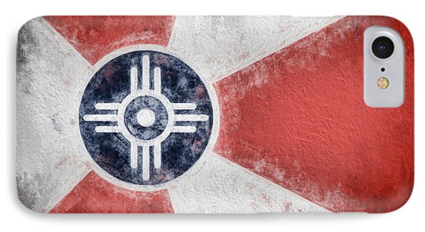 IPhone 7 Case featuring the digital art Wichita City Flag by JC Findley