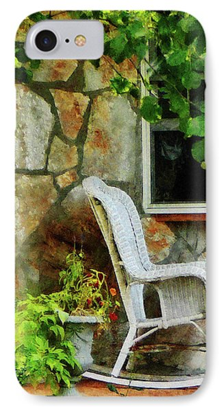 Wicker Rocking Chair On Porch Phone Case by Susan Savad