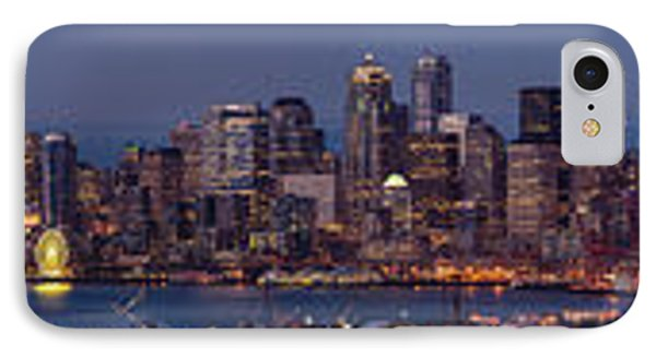 Wide Panorama Of The Seattle Skyline At Dusk IPhone Case by Mike Reid