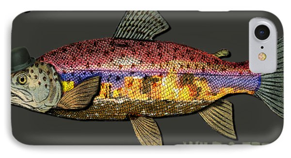 Wild And Free In Anchorage-trout With Hat IPhone Case by Elaine Ossipov