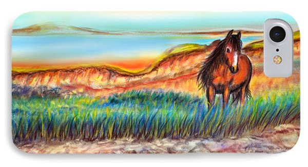 IPhone Case featuring the painting Wild And Free Sable Island Horse by Patricia L Davidson