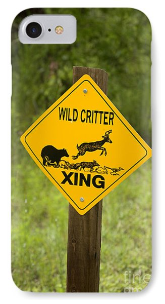 Wild Critter Crossing Sign IPhone Case by Inga Spence