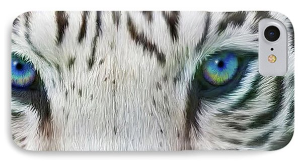 IPhone Case featuring the mixed media Wild Eyes - White Tiger by Carol Cavalaris