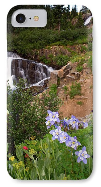 IPhone Case featuring the photograph Wild Flowers And Waterfalls by Steve Stuller