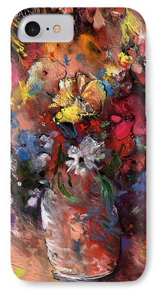 Wild Flowers Bouquet In A Terracota Vase IPhone Case by Miki De Goodaboom