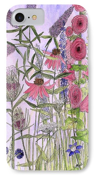 IPhone Case featuring the painting Wild Garden Flowers by Laurie Rohner