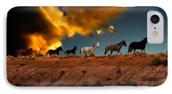 Wild Horses At Sunset IPhone Case by Harry Spitz