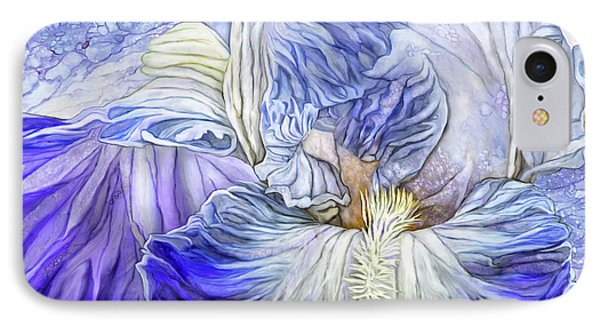 IPhone Case featuring the mixed media Wild Iris Blue by Carol Cavalaris